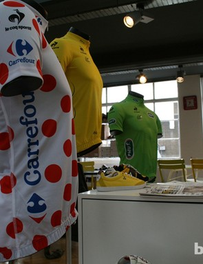 The three principal jerseys of the Tour – polka dot, yellow and green