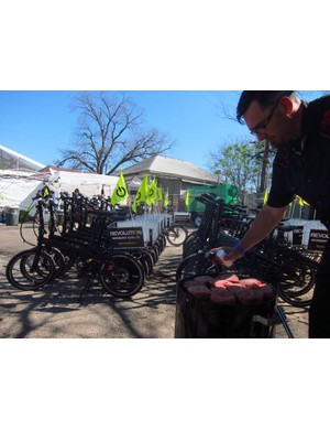 """Bikes, burgers, beer and beats - though there was a lot of work involved in and around the bike share program, the SX Cycles temporary """"shop"""" vibe was classic Austin"""