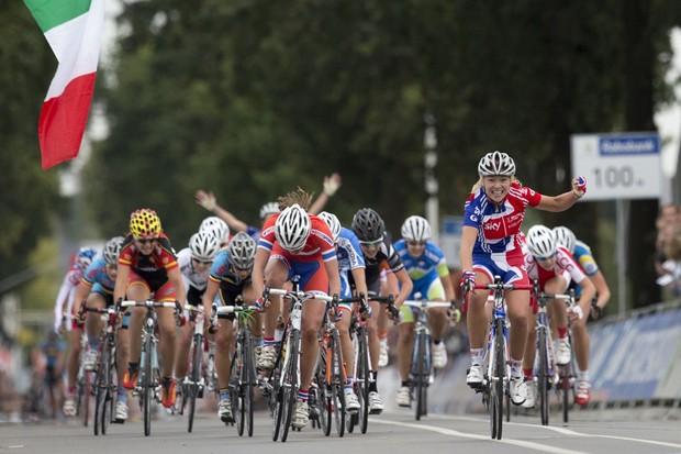Lucy Garner winning her second junior world road race in Valkenburg, Holland, in 2012