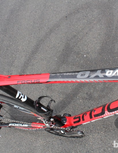 The sculpted top tube of the semi-compact frame