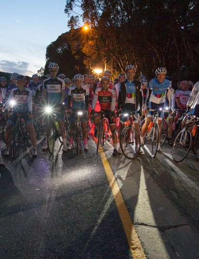 Riders gather in the early hours of the morning for the start