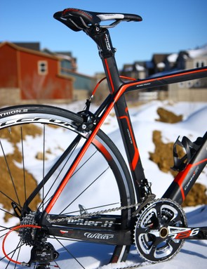 The size disparity between the chain stays and seat stays is especially exaggerated on the Wilier Triestina Cento1SR