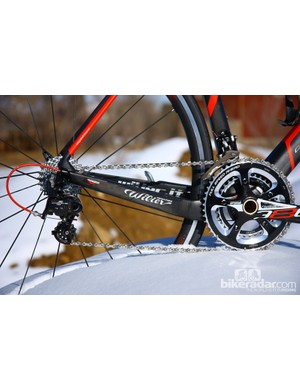 The driveside chain stay is dropped to minimize chain slap