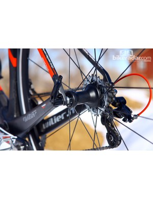 The rear wheel features two-to-one spoke lacing for more even tension