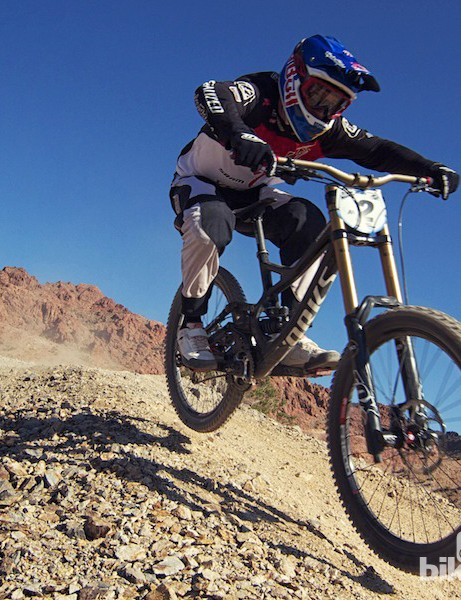 Aaron Gwin took second at the first PRO GRT race of the season in Boulder City, Nevada