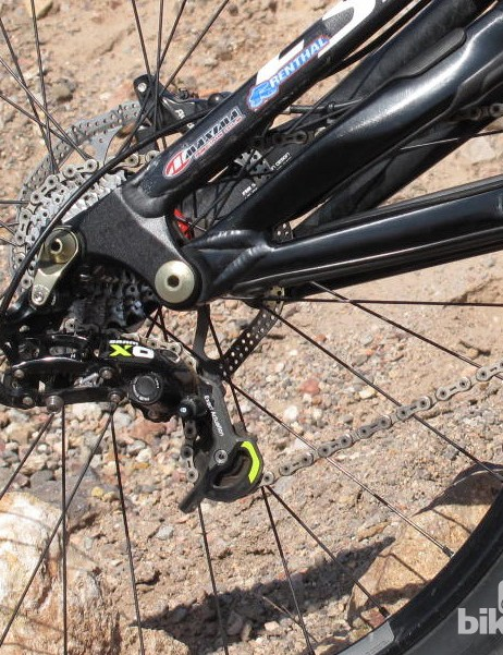 An X0 Type 2 short cage rear derailleur is tough enough for downhill racing