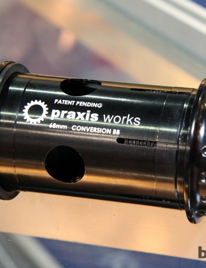 Unlike press-in adapters that simply insert into existing BB/PF30 bottom brackets to step down the axle, the Praxis Works conversion bottom bracket uses its own bearings that are more widely spaced for better spindle support