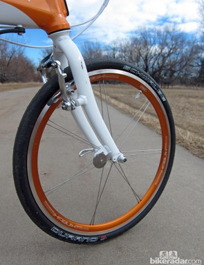 The wheels might be small but they're not low-rent, with paired and bladed stainless steel spokes, mid-section aluminum rims, and hubs by American Classic