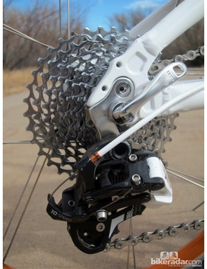 More SRAM components are found in the X9 rear derailleur and PG-1050 10-speed cassette. And, yes, the quick-release skewer is installed this way for a reason