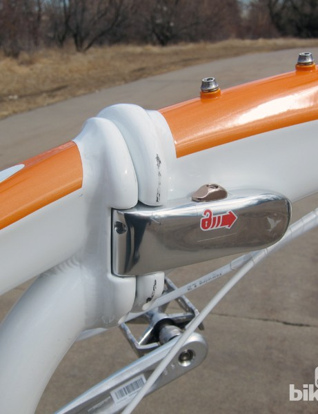 The main hinge is extremely sturdy and locks securely in place so there's no fear of things coming apart mid-ride