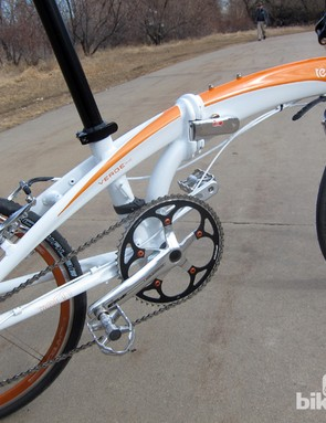The aluminum frame is plenty stiff enough for the given application. Ride quality is actually quite nice, too