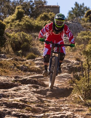 Rob Weaver testing the new Fox 40 Float FIT RC2 fork and DHX RC4 rear shock at La Fenasosa Bike Park, Spain
