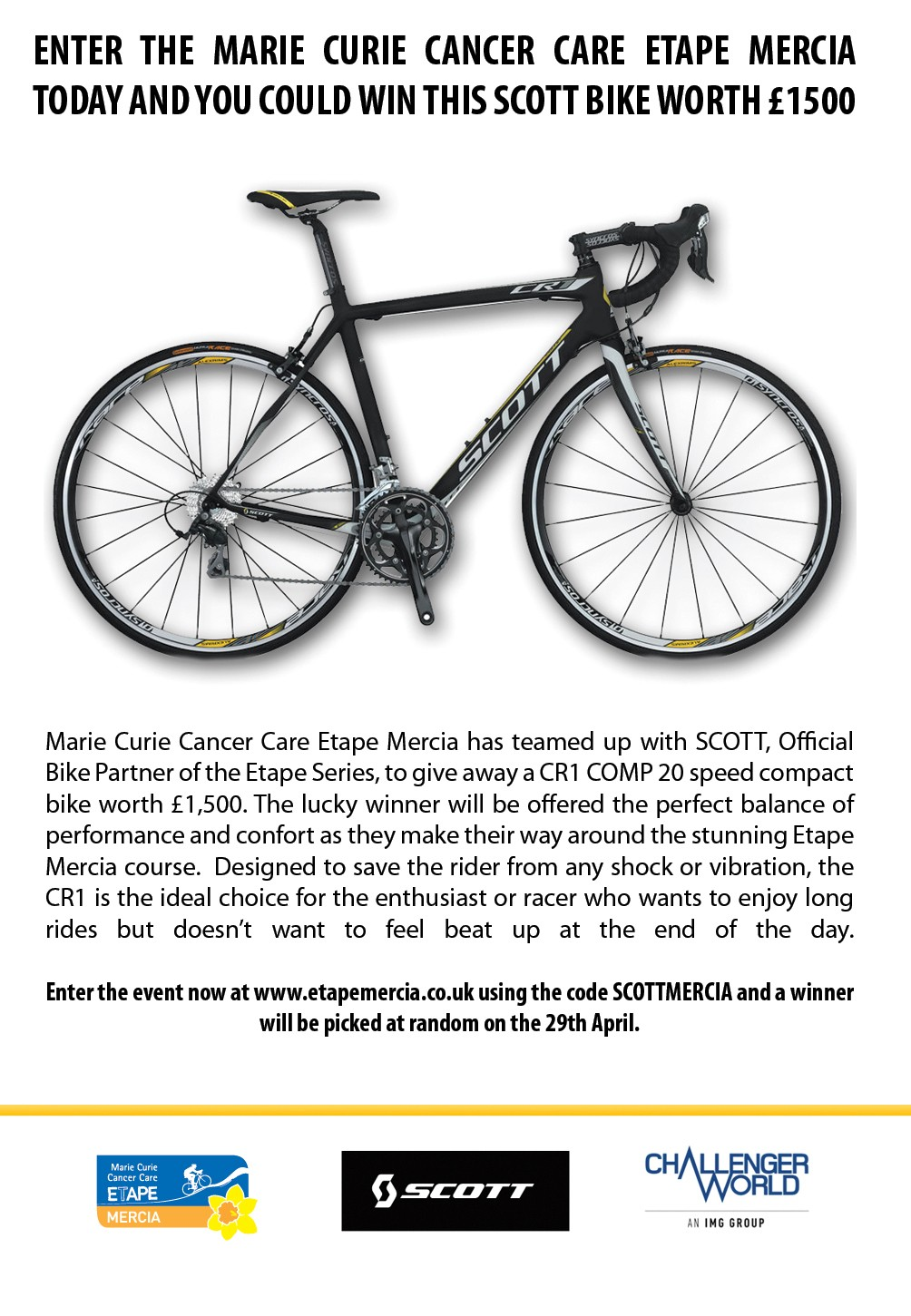 Enter the Etape Mercia and win a SCOTT CR1 Comp road bike worth £1500