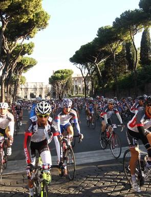 A scene from 2012's Granfondo Campagnolo Roma