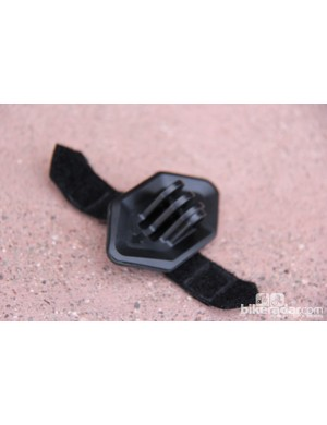 The GoPro mount is a removeable vent plug, secured with two Velcro straps