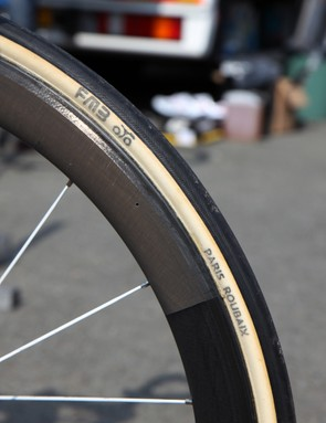 Supple 25mm-wide FMB Paris-Roubaix are glued to Bontrager Aeolus 5 D3 carbon tubular wheels