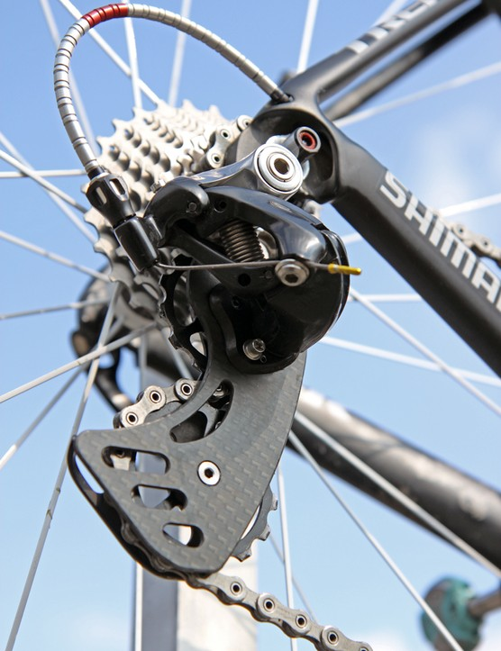 The German-made Berner rear derailleur cage features enormous pulleys that are claimed to decrease drivetrain friction