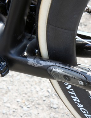 A Bontrager DuoTrap wireless speed and cadence sensor is housed inside the non-driveside chain stay