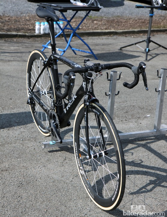 The pointy end of Fabian Cancellara's (Radioshack-Leopard-Trek) Trek Domane 6-Series