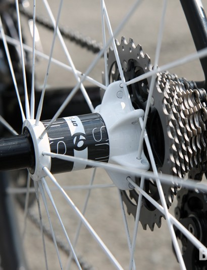 The Bontrager Aeolus 5 D3 rear hub features a 'stacked' driveside spoke flange