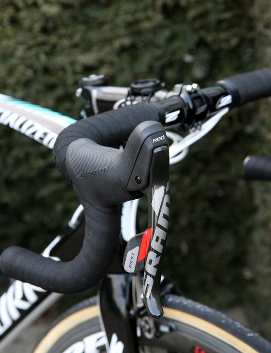 The newly textured hoods on SRAM's latest Red levers might prove handy if things get wet on Sunday.