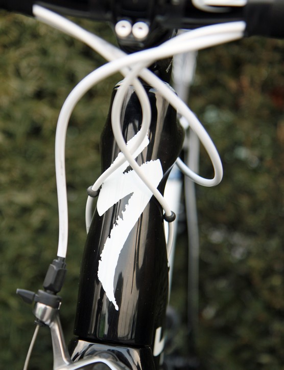 The distinctive hourglass head tube profile on Specialized's S-Works Tarmac SL4.