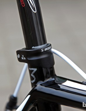 A simple line from a silver paint marker keeps track of Tom Boonen's (Omega Pharma-QuickStep) saddle height.