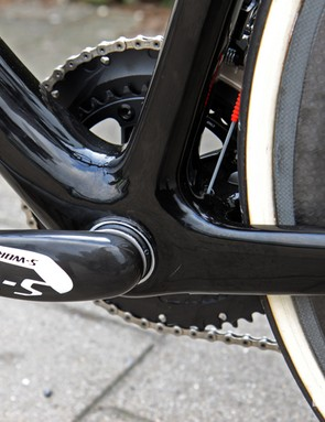 The hugely reinforced bottom bracket area of the Specialized S-Works Tarmac SL4.