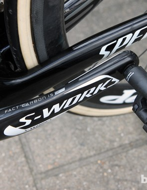 Specialized's latest S-Works carbon crankarms are broader and stiffer than in years past.