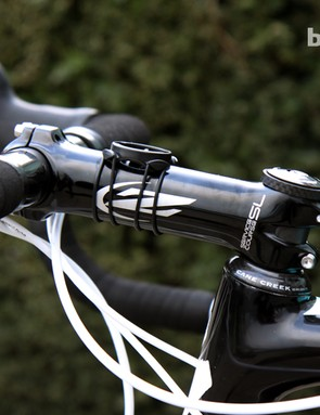 The 140mm-long Zipp Service Course SL forged aluminum stem is slammed down atop the Cane Creek headset on Tom Boonen's (Omega Pharma-QuickStep) Specialized S-Works Tarmac SL4.