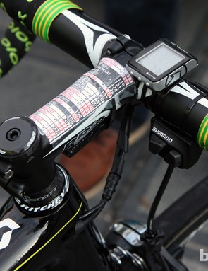 The busy cockpit of Orica-GreenEdge veteran Stuart O'Grady includes a course cheat sheet, a PRO computer, and a satellite shifter for the Shimano Dura-Ace Di2 rear derailleur