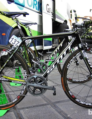Orica-GreenEdge was one of two teams showing off a new Scott Addict at the start of this year's Ronde van Vlaanderen