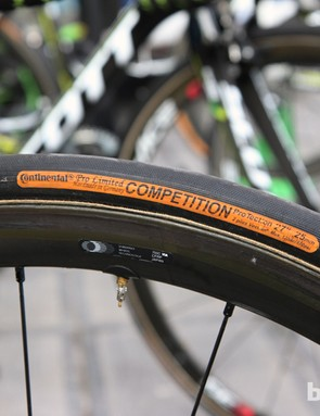 25mm-wide Continental Competition Pro Limited ProTection tubulars for the Orica-GreenEdge team at Ronde van Vlaanderen