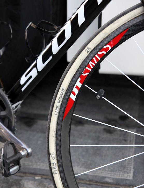 25mm-wide FMB Paris-Roubaix tubulars and DT Swiss carbon rims for this IAM Cycling rider