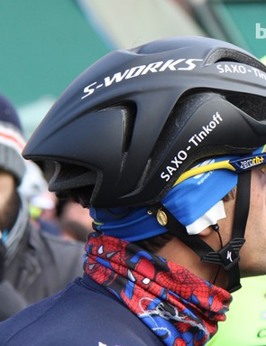 Specialized's new S-Works aero road helmet isn't the most aesthetically pleasing design but we're guessing the company will boast of impressive wind tunnel numbers when it's officially launched later this year