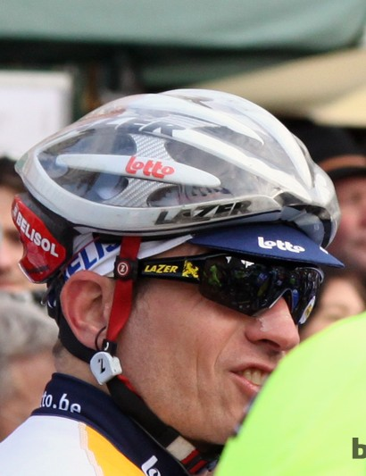 Lazer - arguably the originator of the modern aero road helmet movement - apparently gets around UCI rules by bonding these covers onto the helmets of Lotto-Belisol