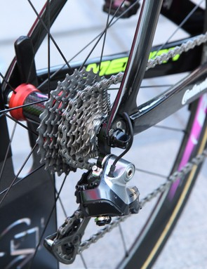 Filippo Pozzato (Lampre-Merida) set off from Bruges with an 11-28T Shimano Dura-Ace 11-speed cassette