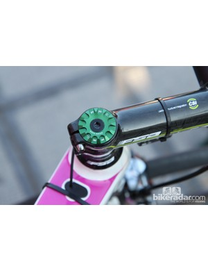 Filippo Pozzato's (Lampre-Merida) headset top cap is made in Switzerland by Procraft