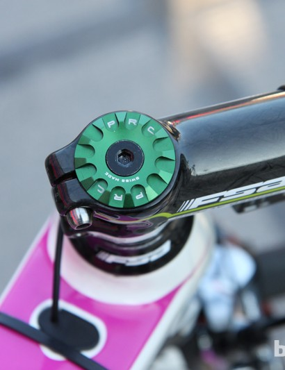 Filippo Pozzato's (Lampre-Merida) headset top cap is made in Switzerland by Procraft