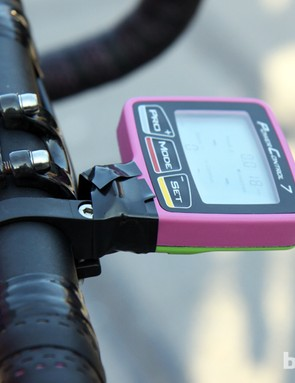 A bit of electrical tape provides some extra security for Filippo Pozzato's SRM PowerControl 7 computer