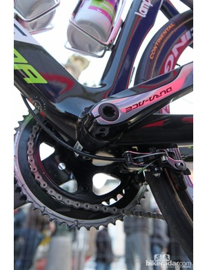The rear brake housing exits on the underside of the down tube
