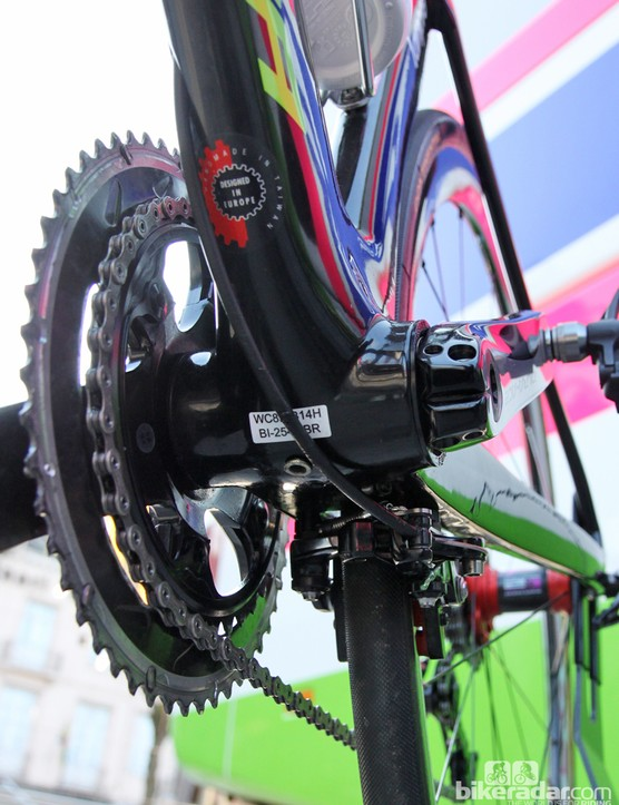 It looks as though Merida has outfitted the new Reacto Evo with a BB386 EVO bottom bracket shell, judging by the width of the shell and the diameter of the cups