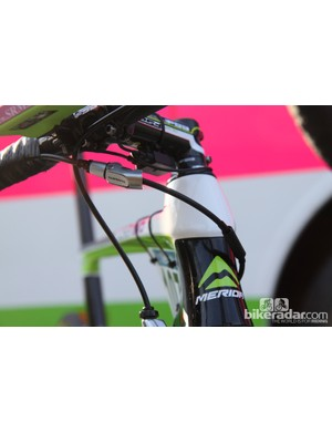Filippo Pozzato's rear brake line includes both an inline tension adjuster and a new Shimano quick-release mechanism