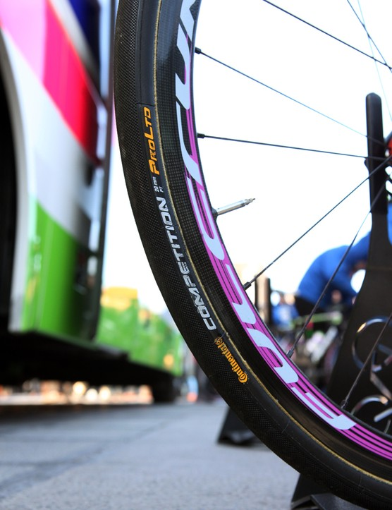 28mm-wide Continental Competition Pro Limited tubulars for Filippo Pozzato (Lampre-Merida) at the start of this year's Tour of Flanders