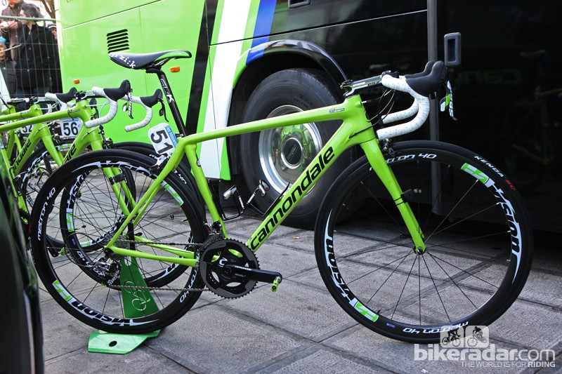 Peter Sagan's (Cannondale Pro Cycling) new Cannondale Synapse Evo Hi-Mod. Cannondale supplies the rising superstar with a custom frame geometry, with the more aggressive stack of a 54cm SuperSix Hi-Mod but the reach of a 58cm size