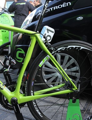 Almost everything about the rear end of Peter Sagan's (Cannondale Pro Cycling) new Cannondale Synapse Evo Hi-Mod looks purpose-built for comfort