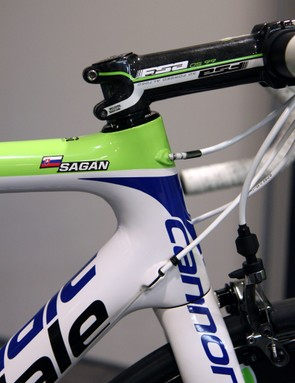 Peter Sagan (Cannondale Pro Cycling) uses a custom geometry with the reach of a 58cm but the stack of a 54cm
