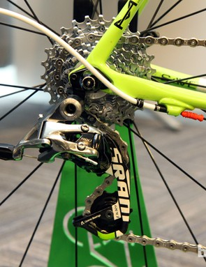 SRAM's latest Red rear derailleur is mated to a PC-1070 cassette and PC-1091 chain. Note the rubber o-rings on the housing to protect the paint - and the misplaced Gore Ride-On 'grub' seal