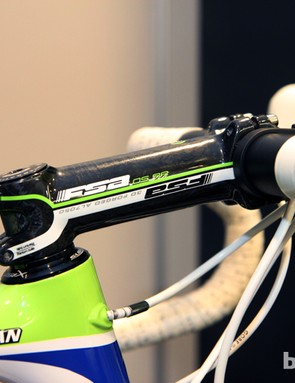 Peter Sagan's (Cannondale Pro Cycling) FSA OS-99 stem isn't quite slammed atop the headset but it's awfully close. Cut the kid some slack, folks