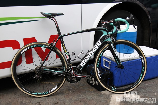 Several Vacansoleil-DCM riders - including Juan Antonio Flecha - used Bianchi's as-yet-unannounced new Infinito model for this year's Ronde van Vlaanderen